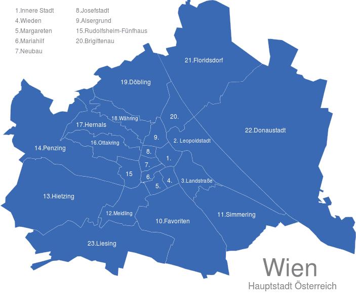 bezirke wien karte Wien Bezirke interaktive Landkarte | Image maps.de bezirke wien karte
