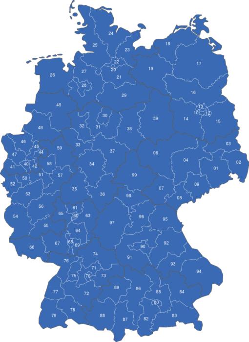 Postleitzahlen Deutschland Zweistellig