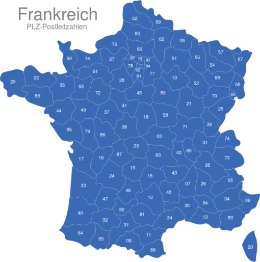 Frankreich Postleitzahlen Zweistellig