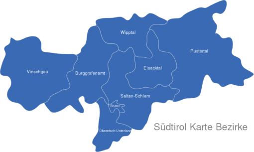 Südtirol Karte Bezirke