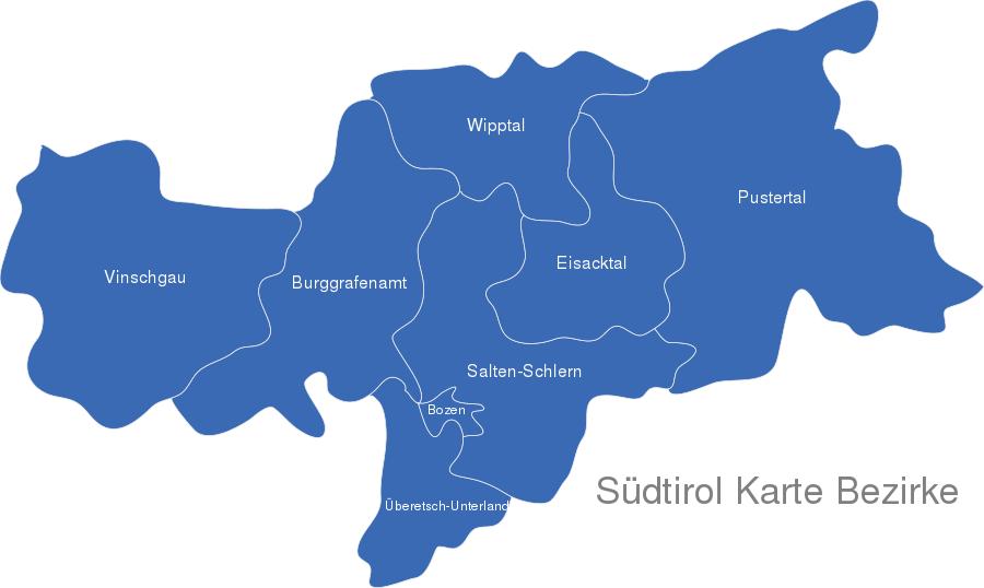 karte südtirol Südtirol Karte Bezirke interaktive Karte | Image maps.de